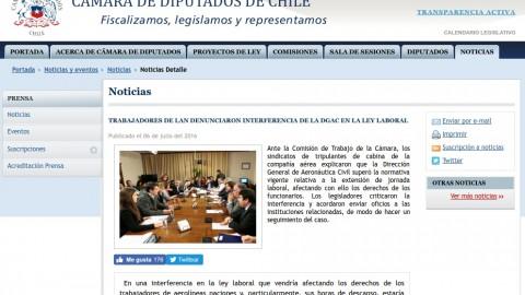 Presentación del sindicato en la comisión de trabajo de la cámara de diputados